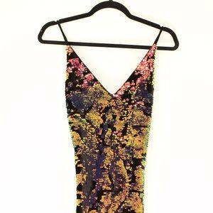 Rainbow Iridescent Reversible Sequins Velvet Dress